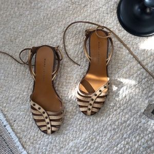 Marc Jacobs Leather Ankle Wrap Sandals 37.5, 6.5